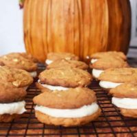 White Chocolate Caramel Pumpkin Spice Sandwich Cookies
