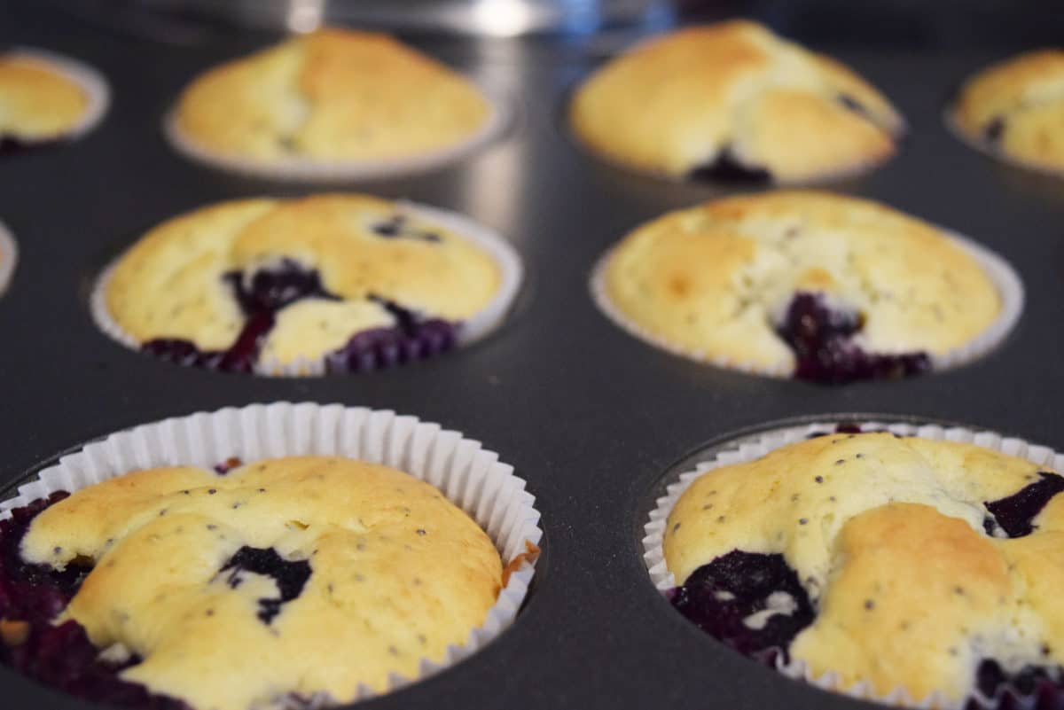Unglazed Baked Lemon & Blueberry Poppy Seed Muffins