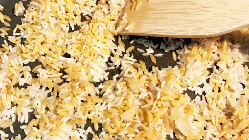 Orzo and Rice in Skillet