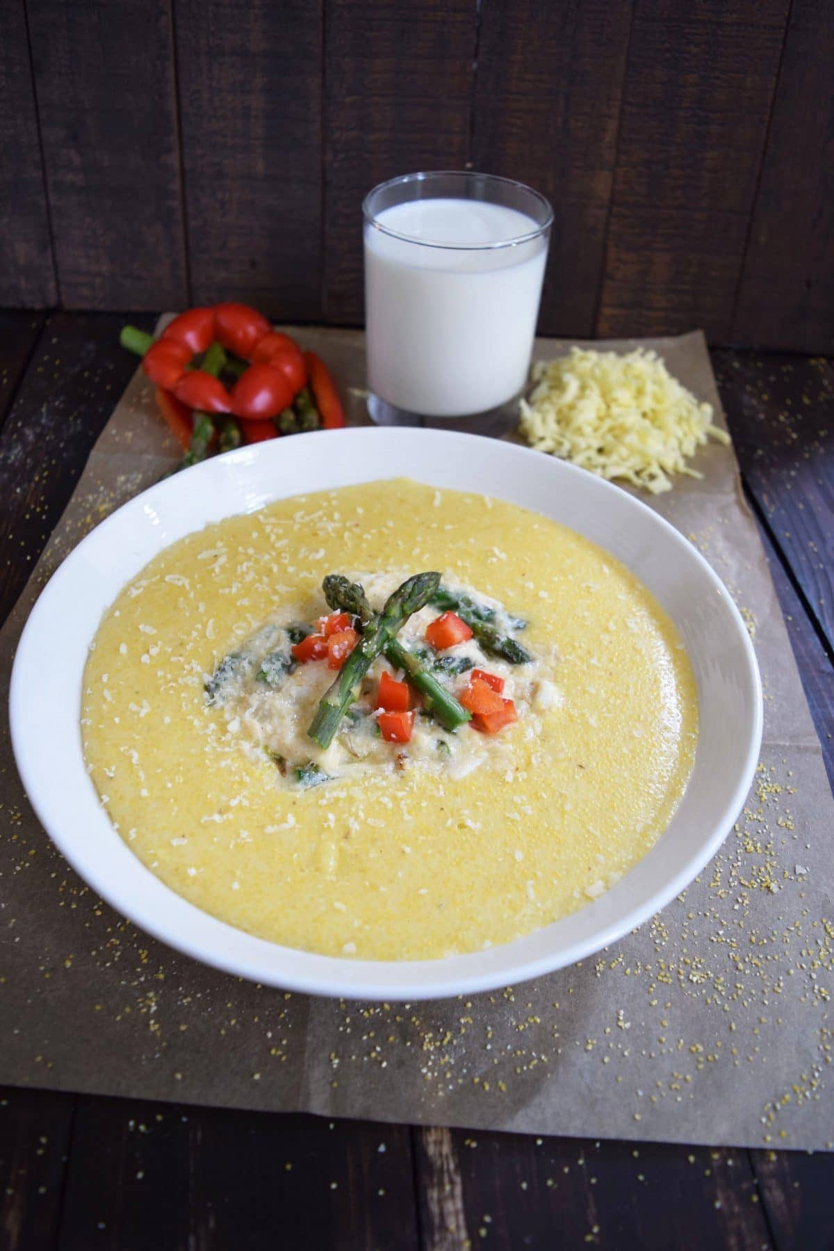 Gouda Grits with Creamy Asparagus & Crab Sauce