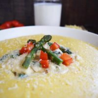 Gouda Grits with Creamy Asparagus & Crab Sauce #JuneDairyMonth #SundaySupper