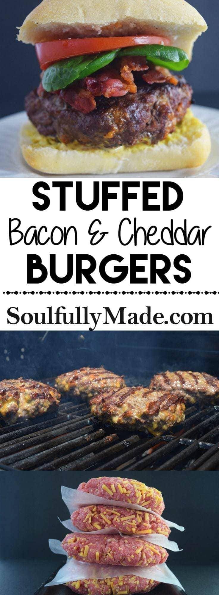 Stuffed Bacon & Cheddar Burgers