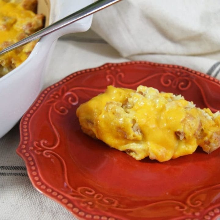 Cheesy Chicken Tender Tater Tot Casserole