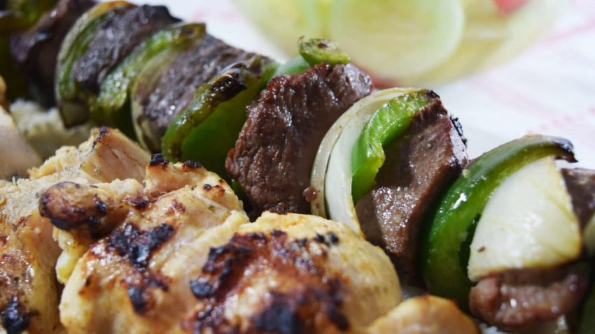 Easy Grilled Steak and Chicken Kabobs