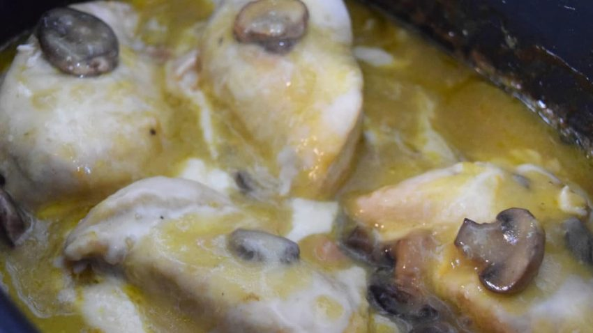 Melted Cheesy Chicken in Crock Pot
