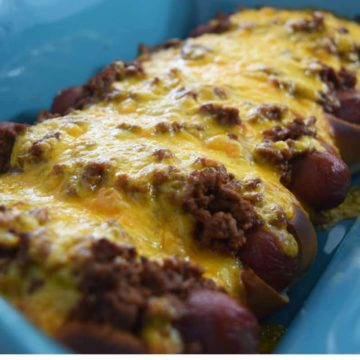 Pan of Chili Cheese Dogs