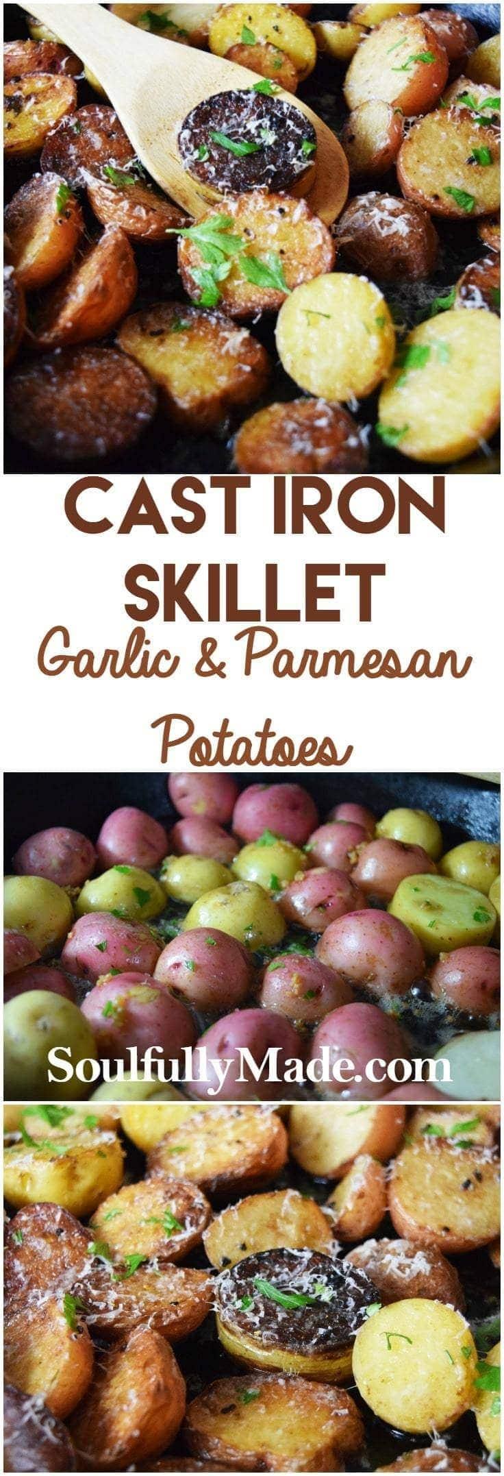 Cast Iron Skillet Garlic & Parmesan Potatoes