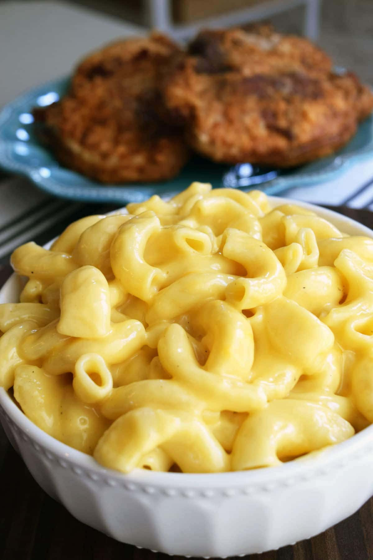 Instant Pot Mac N Cheese in a white bowl