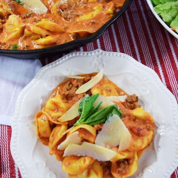 Creamy Italian Sausage Tortellini Skillet