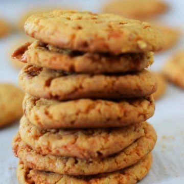 a stack of butterfinger cake mix cookies