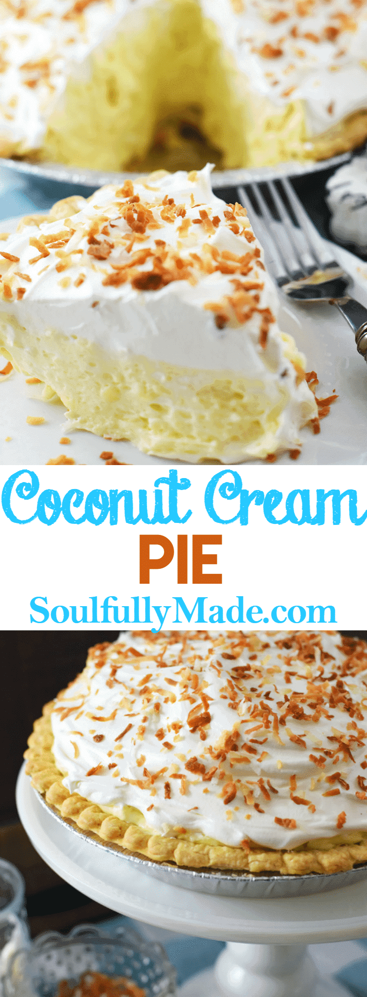 Pin Collage of Coconut Cream Pie