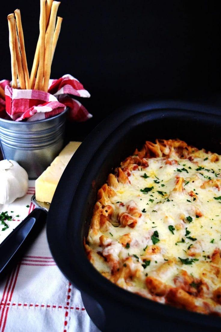 Crock Pot Chicken Parmesan Penne Pasta