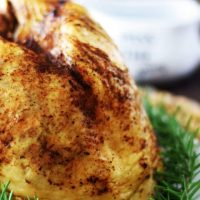 Instant Pot Turkey Breast on platter with rosemary sprigs