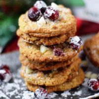 Candied Cranberry Walnut Oatmeal Cookies