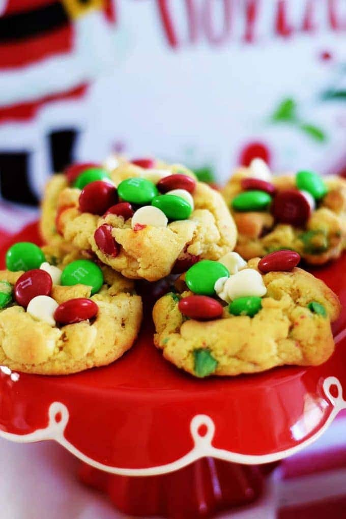 Santa Favorite Cookies with M and M's and White Chocolate Chips on a red Pedistool