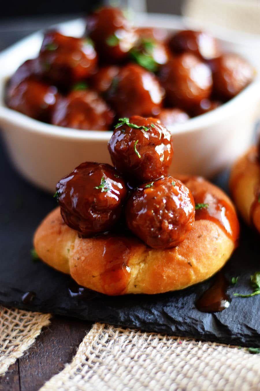 Slow Cooker Strawberry Jalapeno BBQ Meatballs on Garlic Knots