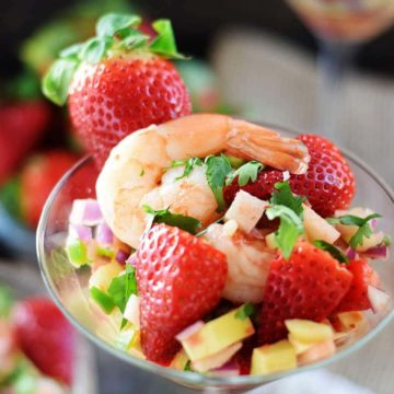 strawberry shrimp ceviche in a glass cocktail glass