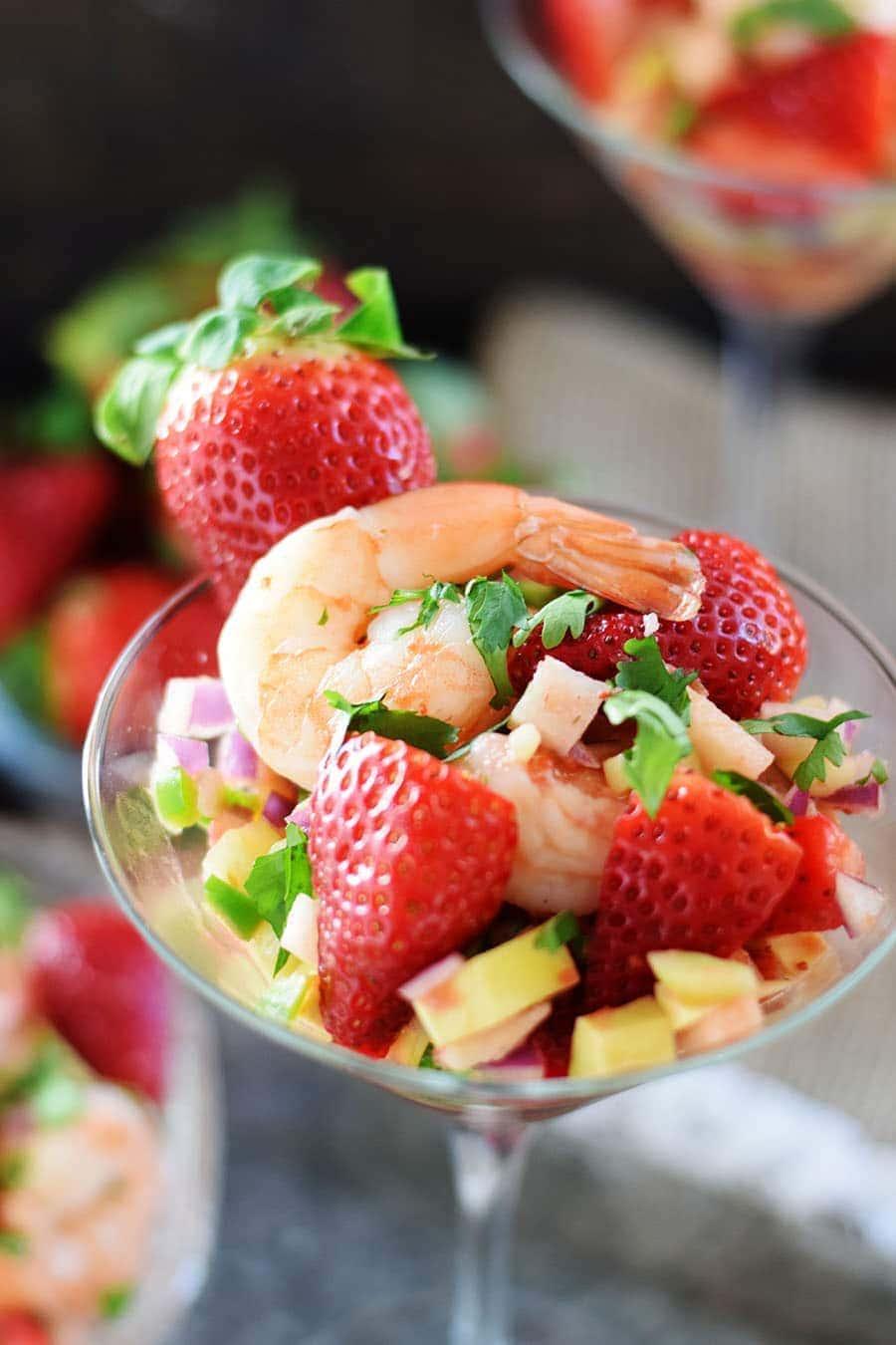Strawberry Shrimp Ceviche Cocktail