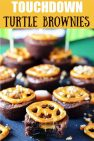Touchdown Turtle Brownie Bites on a Football Themed Tray