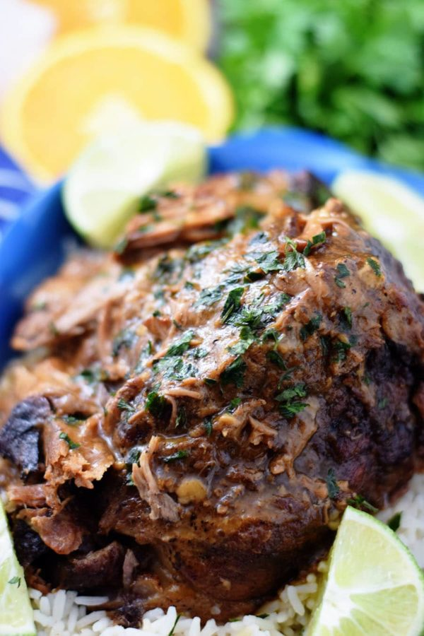 Cuban Mojo Pork Roast marinated in spices and citrus flavors.