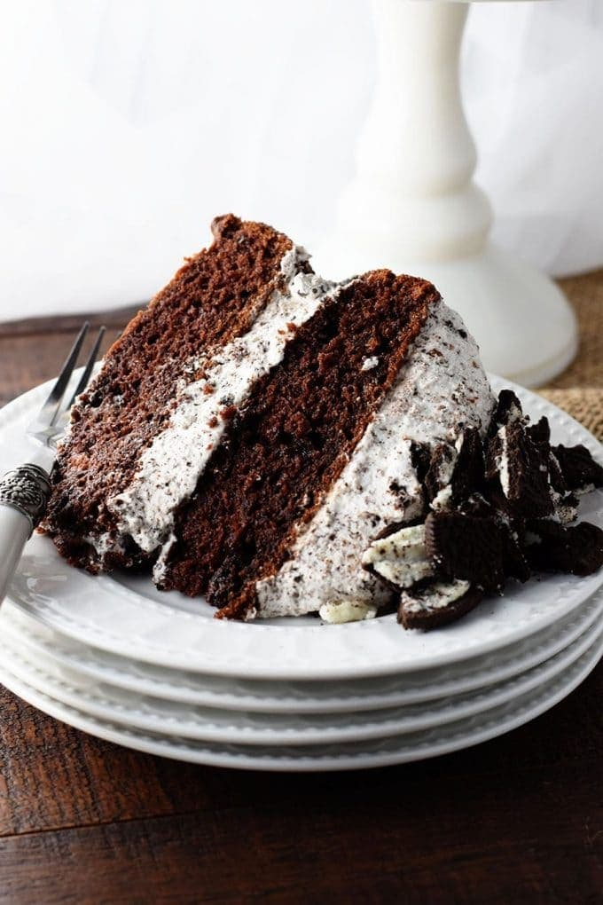 Slice of Chocolate Cake with Whipped Oreo Icing