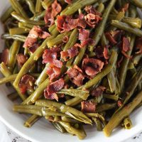 Southern Style Green Beans with Crumbled Bacon on top