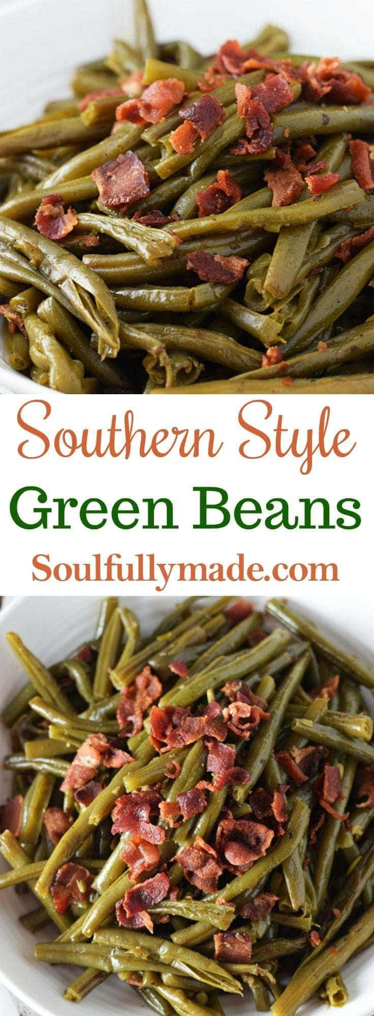 Southern Style Green Beans with Crumbles of Bacon on Top