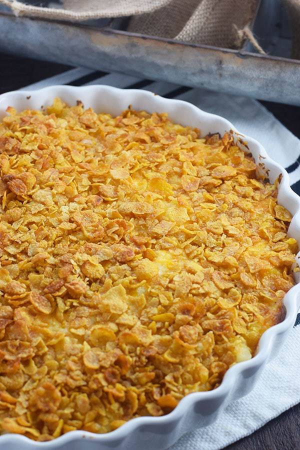 Round Casserole Dish of Cheesy Potato Casserole