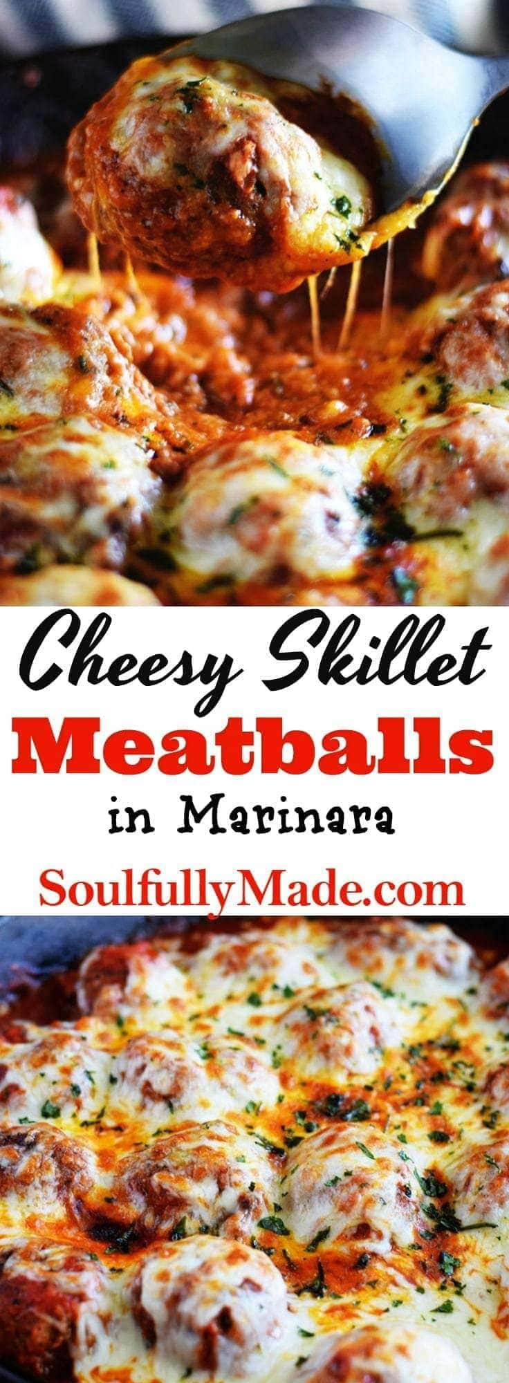 Cheesy Skillet Meatballs in Marinara Sauce