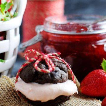 Chocolate Strawberry Cream Whoppie Pie with Tied Twine