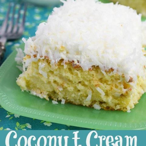 Pin Collage of Coconut Cream Poke Cake