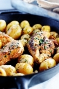 chicken breast cooked in a cast iron skillet with potatoes. Marinated in a lemon and herb dressing.