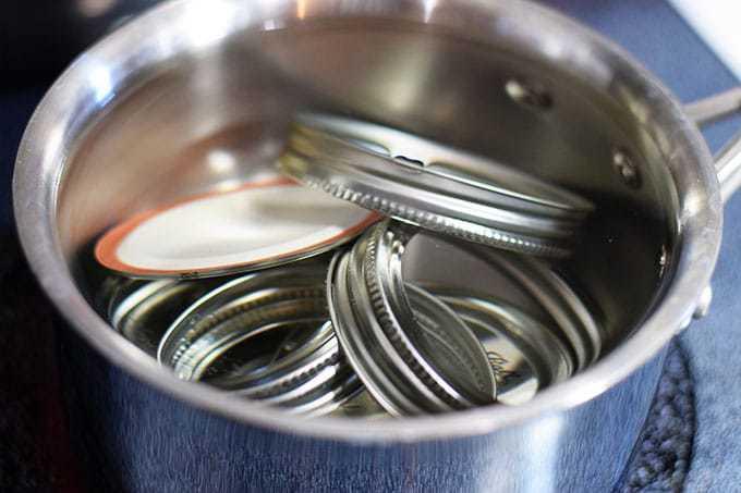 Lids Simmering in Pot
