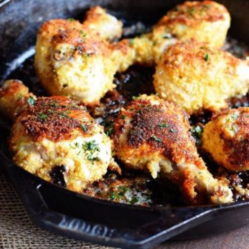 Oven Fried Panko Crusted Chicken Drumsticks in a Cast Iron Skillet