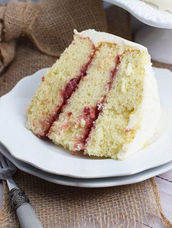 Slice Almond Strawberry Layer Cake