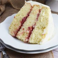Slice Almond Strawberry Layer Cake
