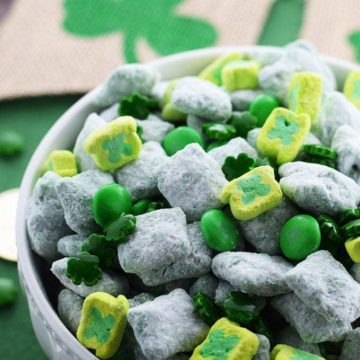 Colorful Green Puppy Chow mix with St Pattrick's Day Candies