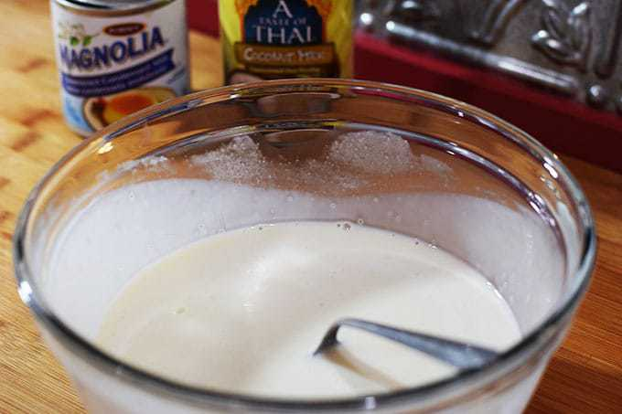 Coconut Milk and Sweetened Condensed Milk in a bowl