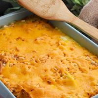 Cheesy Yellow Squash Casserole in baking dish