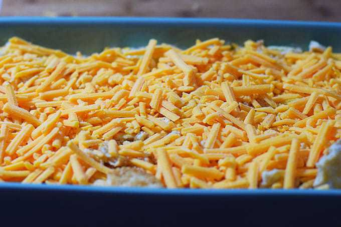 Ritz Crackers and Cheese on top of Squash Casserole