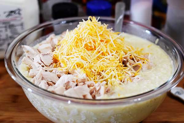 Chicken, Cheese and Soup Mixture in glass bowl