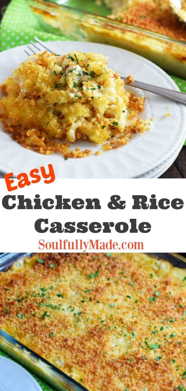 Easy Chicken and RIce Casserole Pinterest Collage