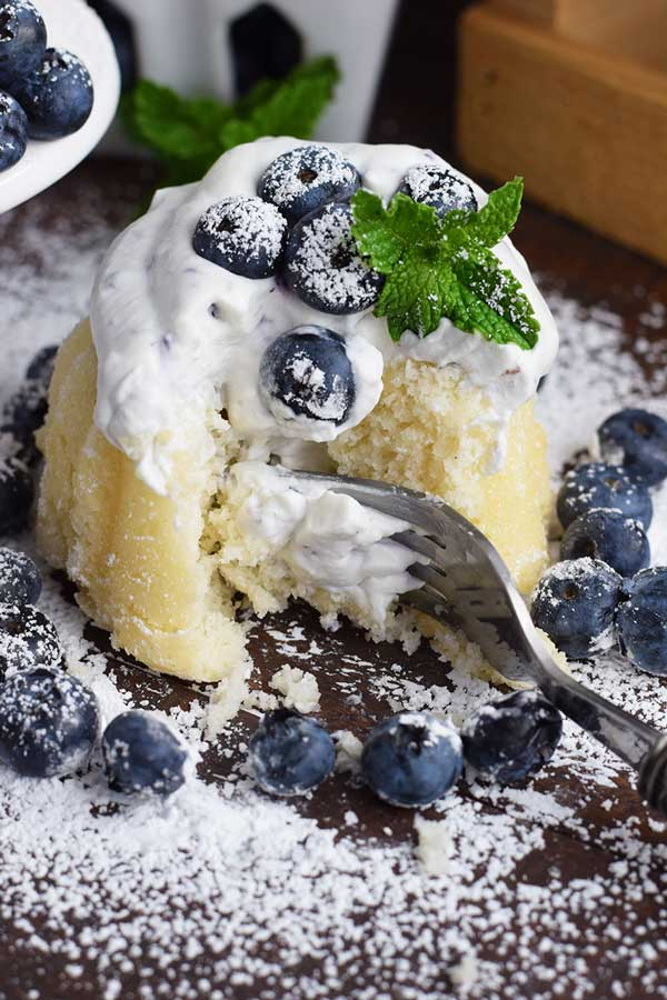 Mini Almond Bundt Cakes With Fresh Blueberry Whipped Cream