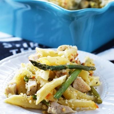 Plate of Cheesy Chicken Asparagus Pasta Bake