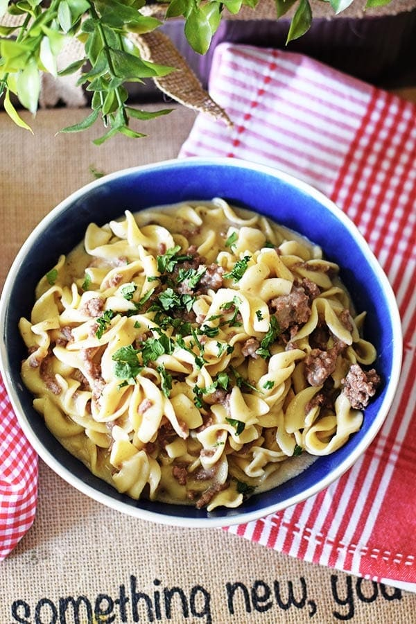 Creamy French Onion Hamburger and Noodles