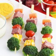 Salami Babs on a plate with dipping sauces