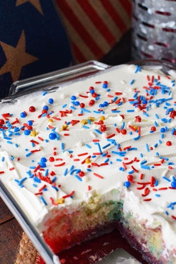 Sprinkle Topped Red White and Blue Cake in baking Dish