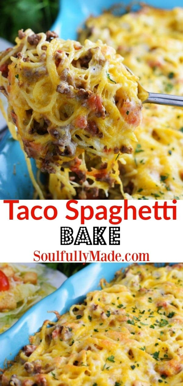 Taco Spaghetti Bake Pin Collage