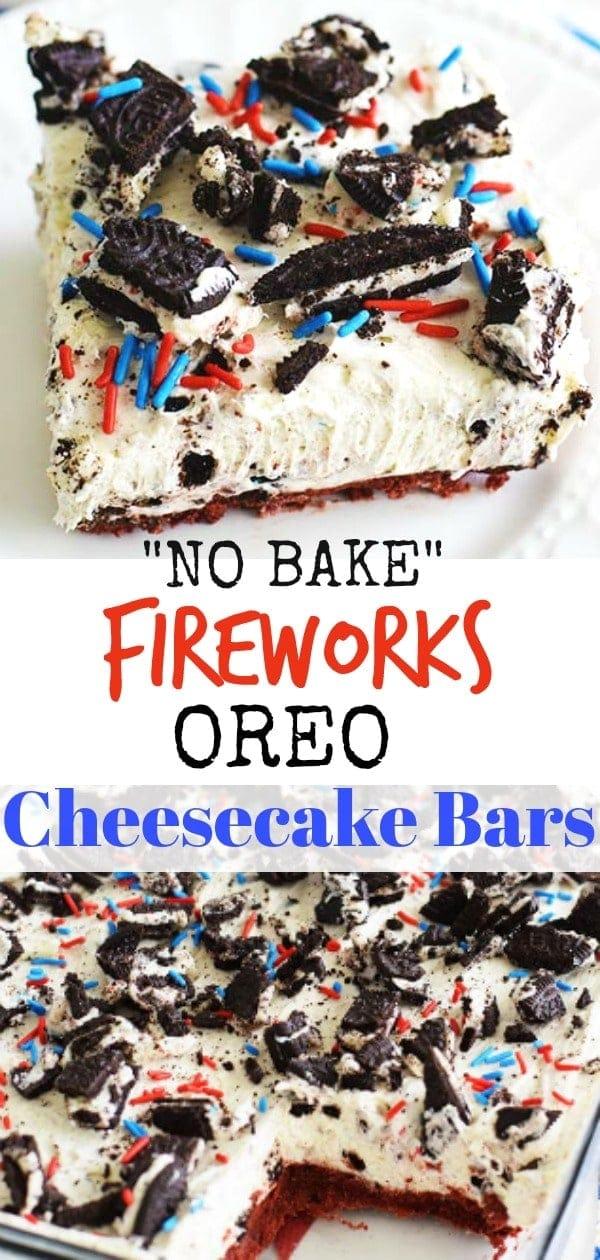 No Bake Fireworks Oreo Cheesecake Bar Pin Collage
