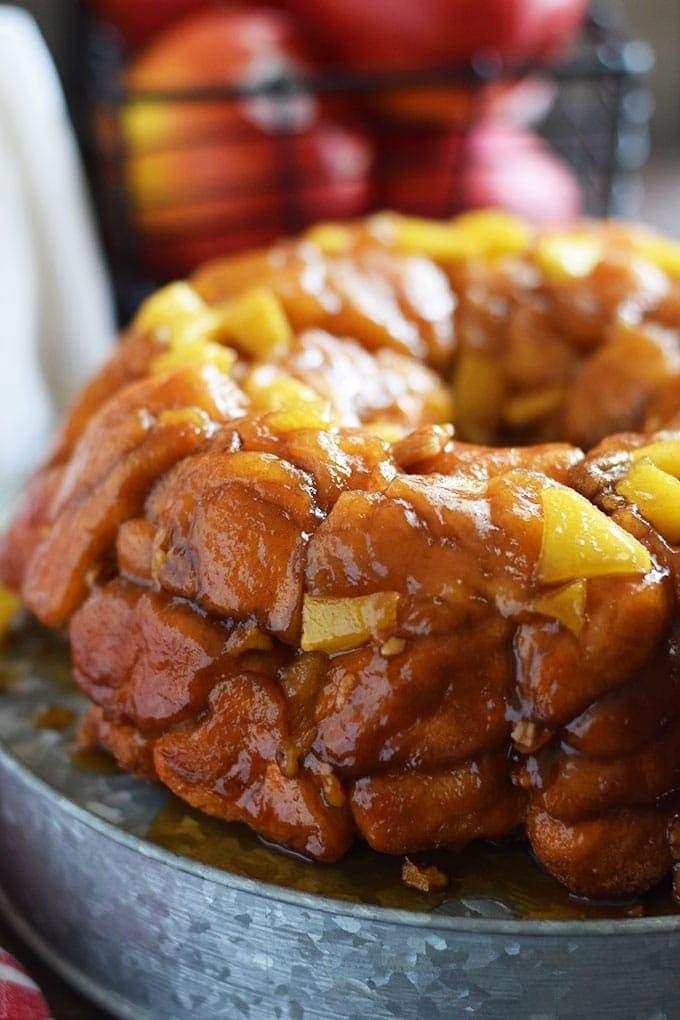 A side view of this apple pecan sticky bun bundt cake aka apple pecan monkey bread